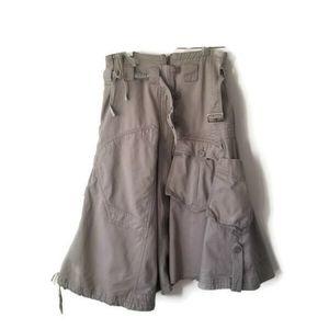 River Island skirt funky denim khaki sz 10